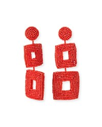 Kenneth Jay Lane Double Square Seed Bead Drop Earrings Coral