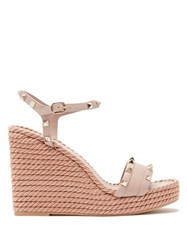 Valentino Torchon Rockstud Leather Wedge Sandals Nude