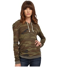 Alternative Apparel Printed Pullover Hoodie Camo Women's Sweatshirt Multi