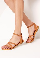Missguided Toe Post Strappy Sandal Tan Brown