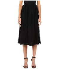 Red Valentino Point D'esprit Tulle Macrame And Lace Ribbons Skirt Black