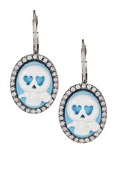 Betsey Johnson Lady Lock Skull Cameo Drop Earrings Blue