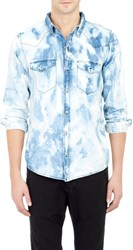 Nsf Bleach Washed Western Shirt White