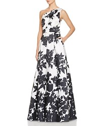 Carmen Marc Valvo One Shoulder Floral Print Gown Black White
