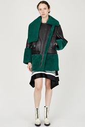 Kenzo Sheep Shearling Long Jacket Bottle Green