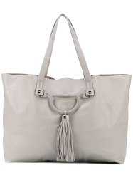 Borbonese Hanging Tassel Tote Bag Women Leather One Size Grey