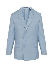 Dunhill Kensington Double Breasted Mohair Blend Jacket Light Blue