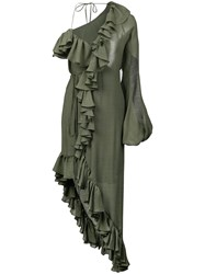 Juan Carlos Obando Asymmetric Ruffled Dress Green