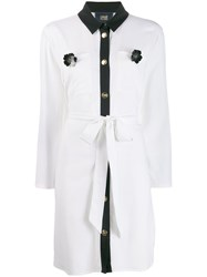 Class Roberto Cavalli Contrast Trim Shirt Dress White