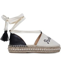 Kurt Geiger Pierre Embroidered Platform Espadrilles Cream Comb