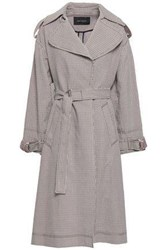 Cedric Charlier Woman Checked Cotton Blend Jacquard Trench Coat Light Brown