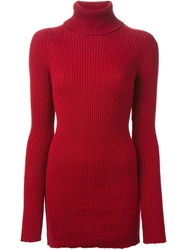 Anthony Vaccarello Ribbed Sweater Red