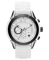 Ax Armani Exchange Watch Men's Chronograph White Textured Silicone Strap 47Mm Ax1225
