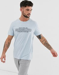 Abercrombie And Fitch Address Logo Print T Shirt In Light Blue