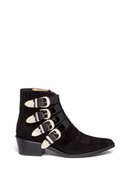 Toga Archives Buckle Suede Cowboy Boots Black