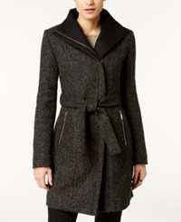 T Tahari Asymmetrical Tweed Coat Black Combo