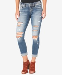 Silver Jeans Co. Suki Ripped Light Blue Wash Skinny Indigo