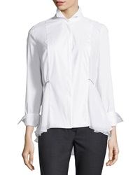 Brunello Cucinelli Long Sleeve Poplin High Low Blouse White