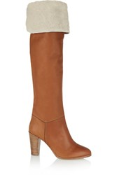 Vanessa Seward Anita Shearling Lined Leather Over The Knee Boots Camel