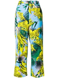 Versace Palm Print Cropped Trousers Multicolour