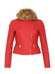 Izabel London Classic Biker Jacket Red