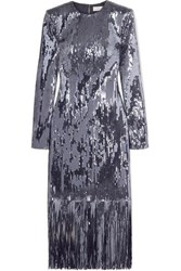 Rebecca Vallance Matisse Fringed Sequined Crepe Midi Dress Silver