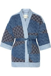 Sea Patchwork Cotton Kimono Jacket Blue