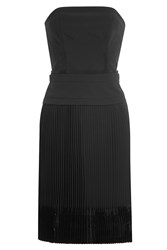 Carven Strapless Dress With Pleated Skirt Black