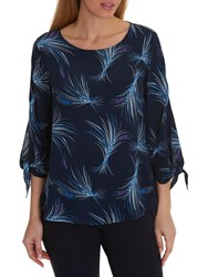 Betty And Co. Corn Print Crepe Blouse Blue