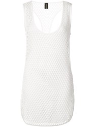 Alexandre Vauthier Fishnet Tank Top Women Cotton Spandex Elastane Viscose 3 White