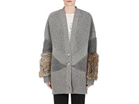 Stella Mccartney Women's Fur Free Fur Virgin Wool Cardigan Grey