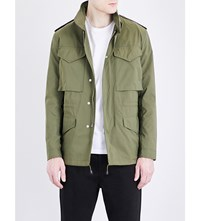 Sandro Stand Collar Shell Field Jacket Olive Green