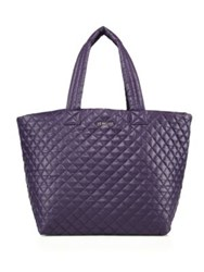 M Z Wallace Metro Large Quilted Nylon Tote Purple