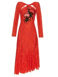 Erdem Cathryn Corded Floral Lace Dress Red