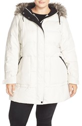 Bernardo Quilted Parka With Faux Fur Trim Plus Size Cream