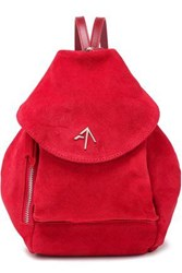 Manu Atelier Woman Suede Backpack Red