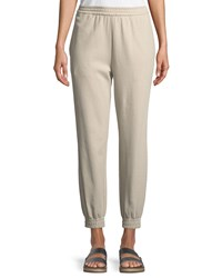 Joan Vass Stretch Interlock Jogger Pants Natural