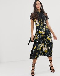 Liquorish A Line Lace Detail Midi Dress In Floral Print Multi