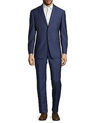 Michael Kors Solid Wool Textured Suit Blue
