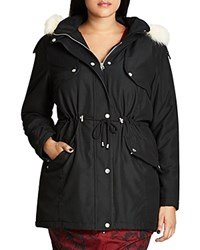 City Chic London Look Faux Fur Trimmed Hooded Parka Black