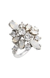 Women's Marchesa 'Poppy' Cocktail Ring Silver White Nordstrom Exclusive