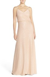 Women's Jenny Yoo 'Jules' Sequin Blouson Gown With Detachable Back Cowl French Vanilla