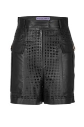 Emanuel Ungaro Leather Laser Cut Cargo Short Black