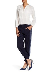 Rebecca Taylor Embroidered Twill Pant Blue
