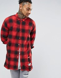 Sixth June Oversized Tartan Shirt With Distressing Red