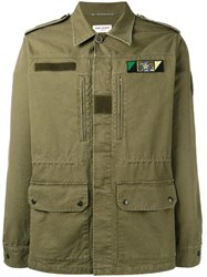 Saint Laurent Sweet Dreams Shark Patch Military Jacket Green