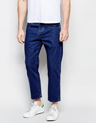 Asos Straight Jeans In Cropped Length Dark Blue Darkblue