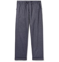 Desmond And Dempsey Brushed Cotton Twill Pyjama Trousers Blue