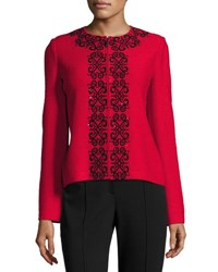 St. John Scroll Embroidered Crinkle Knit Zip Front Jacket Black