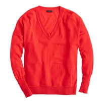 J.Crew Collection Cashmere V Neck Pocket Sweater Electric Red